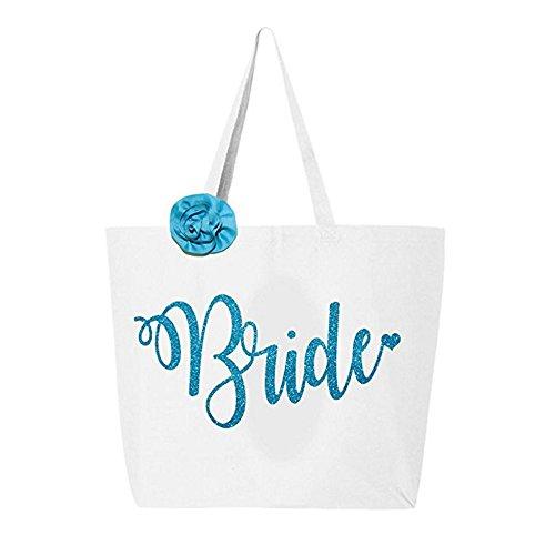 Classy Bride Glitter Tote Bride Bag - White and Aqua