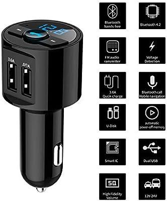 BT28 3.6A Cargador USB Bluetooth Car Kit Transmisor FM modulador Audio Música Coche Reproductor de Mp3 Teléfono Inalámbrico Manos Libres Kit de Ballylelly: Amazon.es: Electrónica
