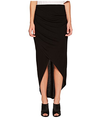 1.State Women's Wrap Front High-Low Skirt Rich Black X-Large