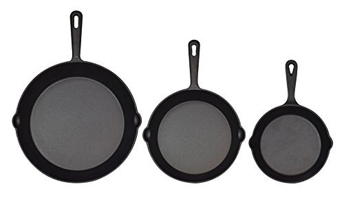 Jim Beam Set of 3 Pre Seasoned Cast Iron Skillets with Even Heat Distribution and Heat Retention - 6