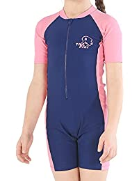 Girls and Boy One Piece Rash Guard Swimsuit Kid Water Sport Short Swimsuit UPF 50+ Sun Protection Bathing Suits