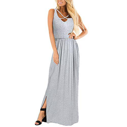 - Maxi Dresses for Women,BOLUBILUY Casual Split O Neck Sleeveless Dress Summer Party Long Maxi Dress Ladies Gray
