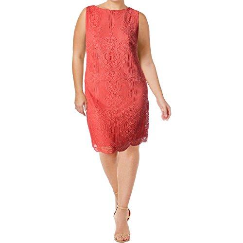 (LAUREN RALPH LAUREN Womens Plus Lace Scalloped Casual Dress Orange 22W)