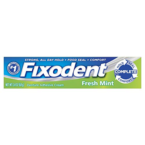 (Fixodent Denture Adhesive Cream, Fresh Mint 2.40 oz (Pack of 4) )