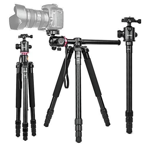 360°Horizontal Rotation Professional Travel Camera Tripod, Portable Projector Stand with 360°Panorama Ball Head,1/4