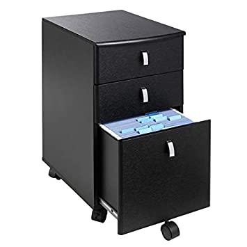 Realspace Mezza Mobile File, 28 1 2 H x 15 W x 19 D, Black Chrome