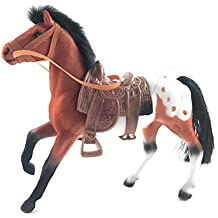 7 inch Brown Flocked Appaloosa Horse with Saddle