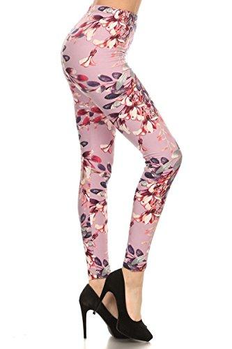 R591-PLUS Lilac in Bloom Print Fashion Leggings
