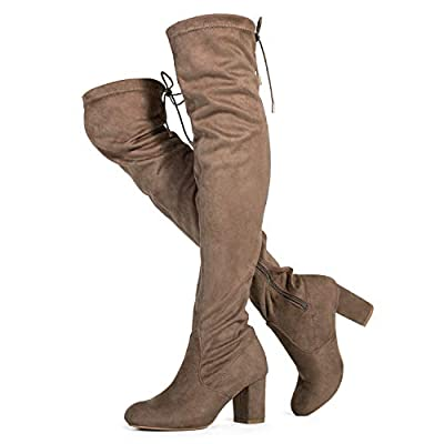 Medium Calf Over The Knee Block Chunky Heel Stretch Boots Taupe (11)