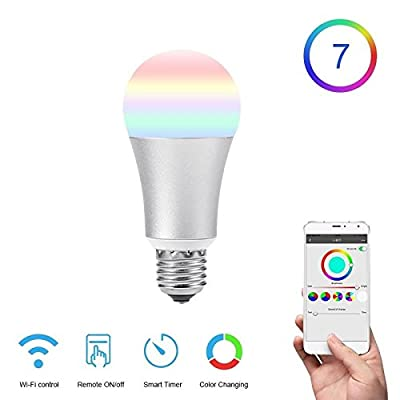 TB-Y E27 Smart Bulb WiFi Led Light Bulb Dimmable RGB Changing Lights Remote Control Bulbs Work with Alexa