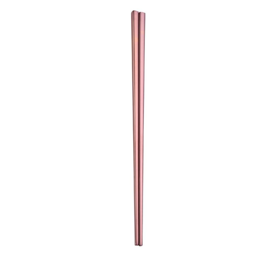 Iuhan 1Pair Stainless Steel Tableware Colorful Length 23cm Chopsticks (Rose Gold)