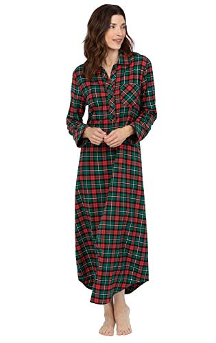 PajamaGram Christmas Nightgown for Women - Flannel Nightgown Women, Red, L 12-14 (Women Christmas Nightgown)