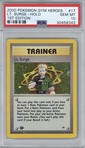 (2000 Pokemon Gym Heroes LT. Surge First 1st Edition Holo Trainer PSA 10 GEM #17)