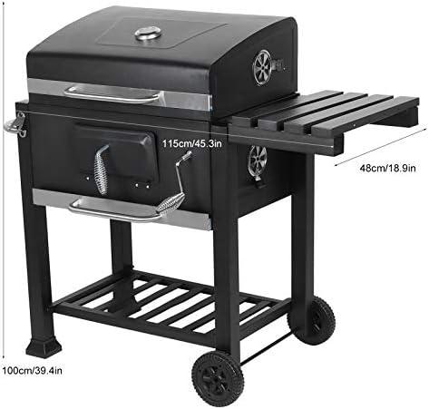 Ausla Barbecue à Charbon Fumoir AméRicain avec Tablette LatéRale Et InféRieure, éVent RéGlable Et 2 Roues, 100x115x48cm