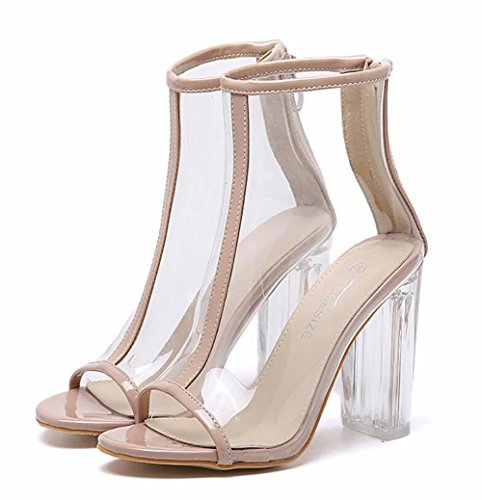 SYYAN Transparente punta abierta de la mujer bloque macizo plexiglás claro talón de la bota del tobillo de Bootie del zapato , 1 , 37 1
