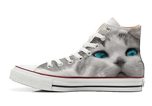 mys Converse All Star Customized - Zapatos Personalizados (Producto Artesano) White Cat With Blue Eyes