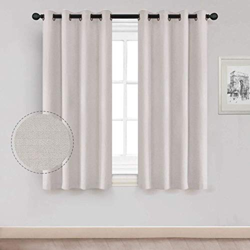 Natural Curtain Short for Living Room, Thermal Insulated Room Darkening Short Drapes Window Curtains with Grommet for Bedroom 52