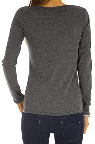BestyledBerlin - Camiseta de manga larga - empire - Manga Larga - para mujer gris oscuro