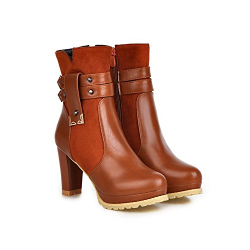 BalaMasa Ladies Multilayer Metal Strap Platform Imitated Leather Boots Brown aAvrIF0