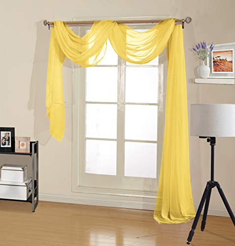 Decotex Premium Quality Sheer Voile Scarf Valance for Home & Event Designs (37
