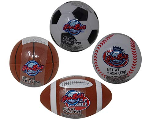Dubble Bubble Gum Pro-Balls (4 Pack) filled with Double Bubble Gumballs and Erasers; Soccer, Basketball, Baseball, Football