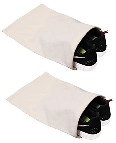 Earthwise Shoe Storage Bags 100% Cotton - with Drawstring For Men - Women in Natural MADE IN THE USA 17 X 12. MACHINE WASHABLE (2 Pack)