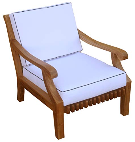 Teak Deep Seating - Solid Wood Teak Deep Seating Outdoor Patio Lounge Chair with Cushions