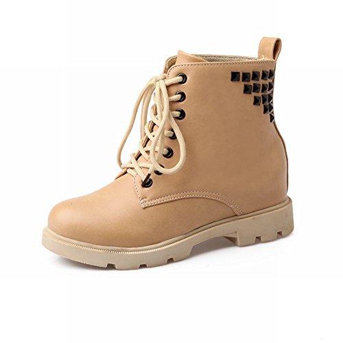 Latasa Kvinna Mode Våren Hösten Dubbade Spets-up Chunky Mid-klack Plattform Boots Gul