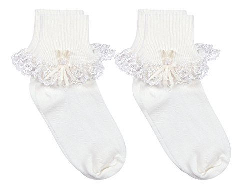 rls' Cotton Turncuff Socks with Venice Lace and Pearl Ribbon Streamer, Pack of 2, Fits 3-12 months (shoe size 4-1.5), White (Venice Embroidery)