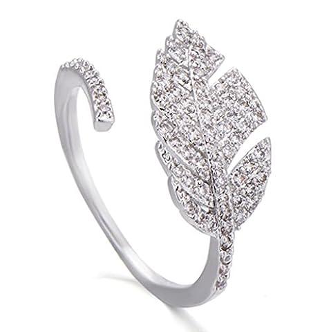 18K Cubic Zirconia Elegant Leaf Ring for Women - White Gold Size 5-10 Adjustable (Leaf Ring White Gold)