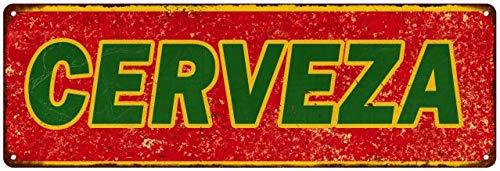 Cerveza Sign Vintage Mexican Food Restaurant Decor Retro Signs Wall Art Tin Decorations Plaque Cantina Gift 6 x 18 Matte Finish Metal 106180067001