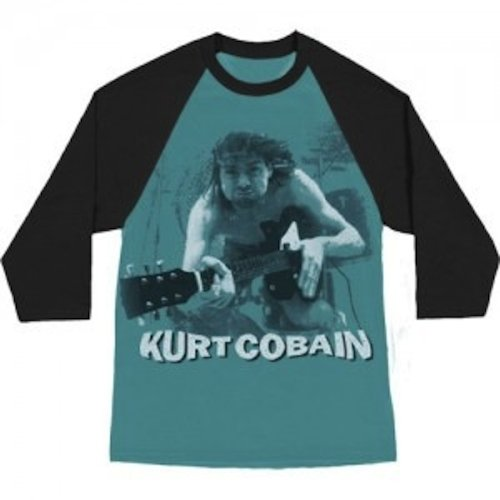 Ill Rock Merch Nirvana - Kurt Cobain Water Guitar Photo Raglan T-Shirt