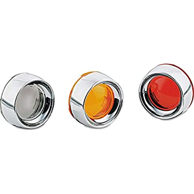 Kuryakyn 2109 Motorcycle Lighting Accessory: Deep Dish Bezel for 2000-19 Harley-Davidson Motorcycles with Bullet Turn Signal/Blinker Lights, Red Lens, Chrome, 1 Pair: Automotive