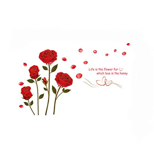 Large Rose Flower Wall Sticker Removable Art DIY Wall Decals Mural for Valentine's Day Home Decor Propose Party Wedding Room Decoration—YF056