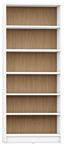 "Manhattan Comfort Greenwich Trente Open Bookcase 1.0 Collection Modern Free Standing 6 Shelf Bookcase, 33"" L x 12.5"" D x 80.5"" H, White Matte/Maple Cream - Sleek, Sophisticated and Contemporary Open Bookcase Measures 33"" L x 12.5"" D x 80.5"" H, All Hardware Comes Included for at Home Assembly This Horizontal Bookcase Features 6 Roomy and Spacious Adjustable Open Shelves to Display Books, Trophies, and Collectables. Each Shelf Can Hold Up To 66 Pounds Free Standing Bookcase for Living Room and Bedroom Organization is Build with High Quality MDF and MDP Wood Material That Offers Long Lasting Durability - living-room-furniture, living-room, bookcases-bookshelves - 41C9vgHQmsL -"