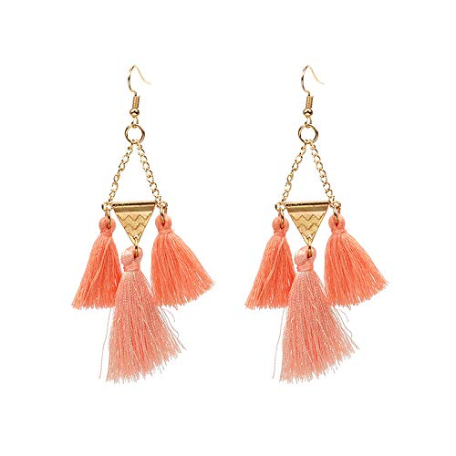 Just Peachy! Coral and Gold Triangle Tassel Earrings ()