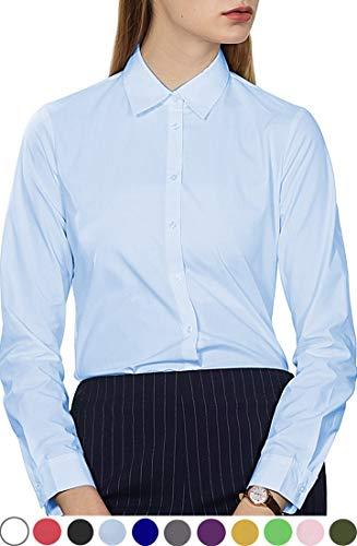 diig Work Blouses, Long Sleeve Basic Dress Shirt for Women Light Blue Large / 14