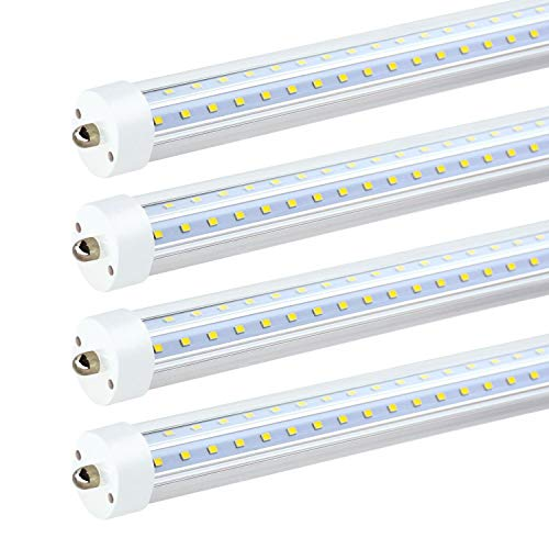 JESLED T8 T10 T12 8FT LED Tube Light, 50W 6000LM, 5000K Daylight White, Single Pin Fa8 LED Bulbs Replacement for Fluorescent Fixtures, Ballast Bypass, V Shape, Garage Warehouse Workshop Lights (4Pack)