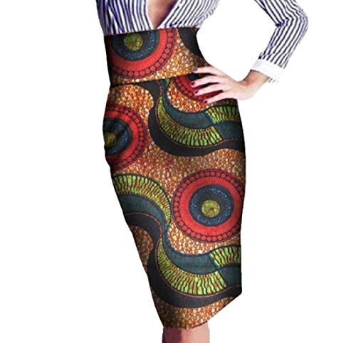 Tootless Women High Waisted OL Hijab Floral Africa Batik Slim Bodycon Skirt 11 L by Tootless-Women
