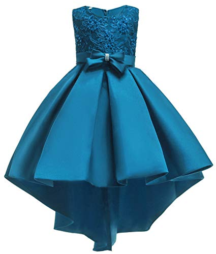 Flower Girl Dresses Teal (Shiny Toddler Big Girls Pleated Beaded High-Low Applique Embroidered Flower Girl Pageant Dance Party)