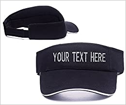 2566d56329f KYUAN Custom-made Personalized Text Logo Visor Cap Embroidery Golf Tennis  Hat at Amazon Men s Clothing store