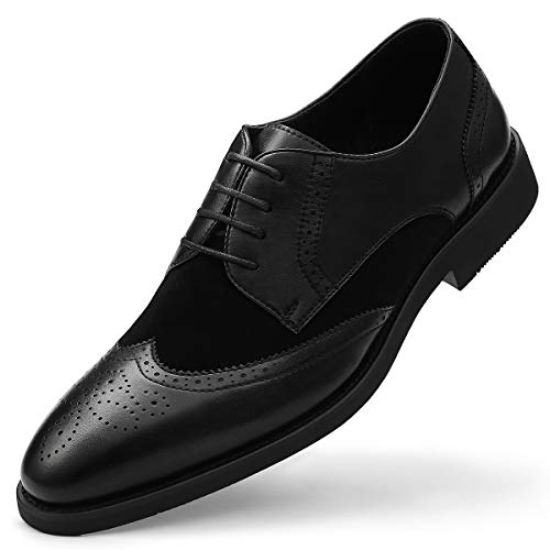 (Men's Derby Shoes Wingtip Brogue-Formal Dress Shoe Classic Lace Up Stitching Vamp Black 7)