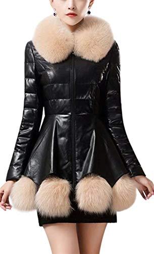 femmes col vintage automne élégantes hiver manteau manches Manteaux avec fourrure vestes Schwarz 2 chaud fit veste jeune cuir de longues chaud de mode similicuir en slim qPwEY