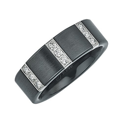 Mens Diamond Wedding Band in Satin Black Ceramic (0.25 carats, H-I (Black Diamond Ceramic)
