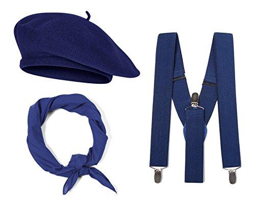 Gravity French Costume Kit, Navy Beret, Navy Suspenders, Navy Bandana -