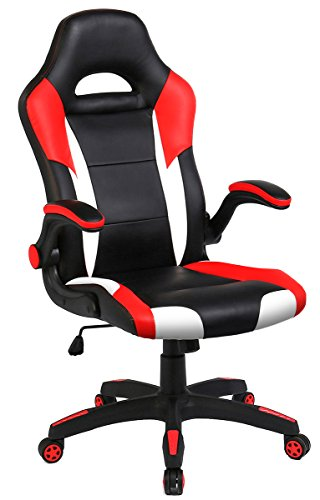 Seatzone Racing Car Style Bucket Seat Gaming Chair  Curved High Back Executive Swivel Office Leather Chair  Adjustable Computer Chair With Flip Up Armrest  Redwhite