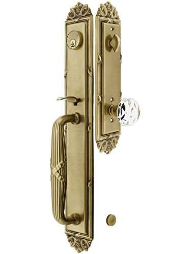 Imperial Style Tubular Handleset in Antique Brass with Diamond Knobs and 2 3/4