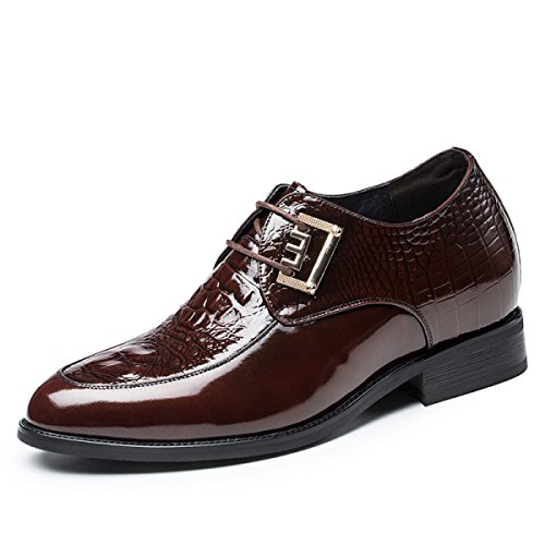 GRRONG Chaussures Hommes Hommes 6cm Affaires Chaussures Habillées De Derby Chaussures De Mariage 8cm Brown