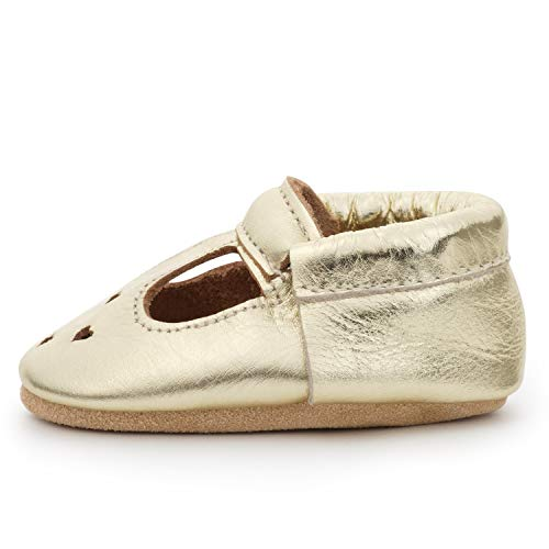 Baby Doll Shoes For Toddlers (BirdRock Baby Mary Jane Moccasins - Genuine Leather Soft Sole Baby Girl Shoes for Newborns, Infants, Babies, and Toddlers (Gold, US)