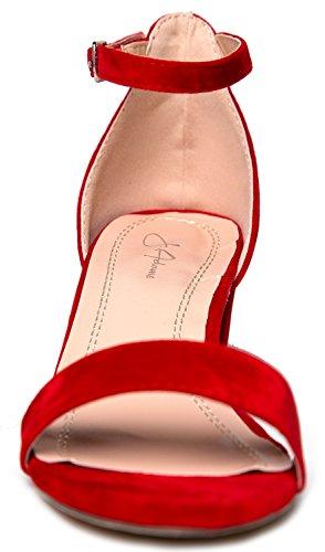 Daisy Heel Strap Heel Red Low Block Adams Adorable Kitten J Ankle WqOzR7
